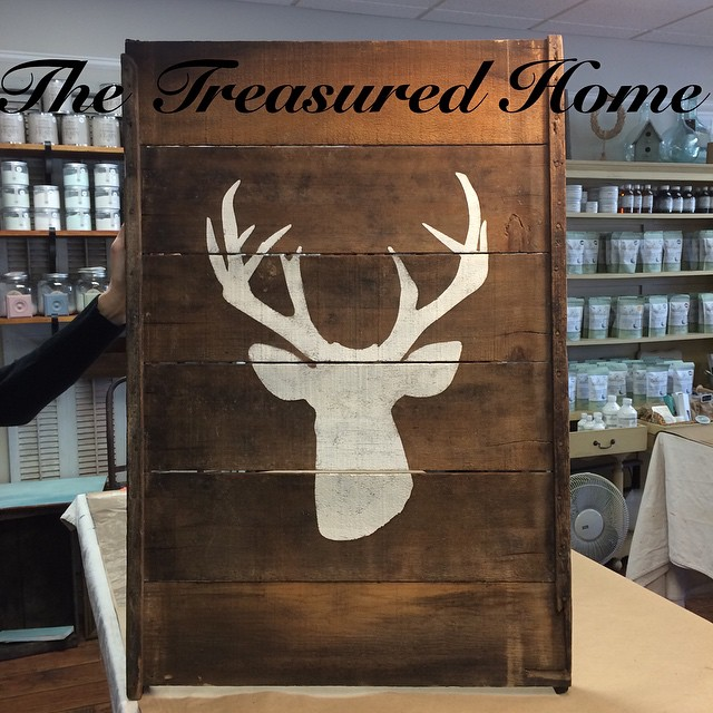 One of our new stencils that we are now carrying. Large deer stencil $27.50. Drying rack with  large deer stencil $69.95. #nicerack #stencils #vintagedryingracksigns #thetreasuredhome