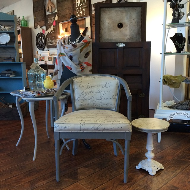 New arrival! Vintage painted, reupholstered chair. #thetreasuredhome