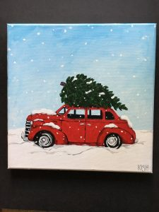 Red Car Paint & Sip Class at The Treasured Home