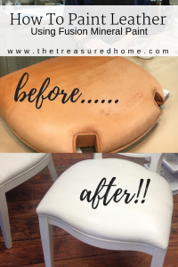 Painting leather with Fusion Mineral Paint is a quick and easy way to refresh outdated dining room chairs. This full video tutorial will show you how! Just look at that furniture painting before and after shot!! #thetreasuredhome #paintingleather #fusionmineralpaint #bestfurniturepaint #paintedfurniture