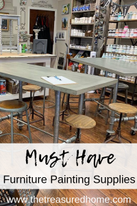 This is the best list of must-have Furniture Painting Supplies! Perfect for the beginner furniture painter! #thetreasuredhome #fusionmineralpaint #furniturepainting #paintingsupplies #beginnerpainter