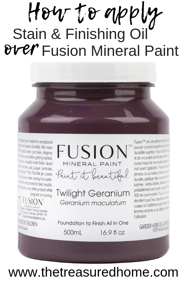 Learn how to apply stain and finishing oil over Twilight Geranium Fusion Mineral Paint for a more neutral finish. #thetreasuredhome #fusionmineralpaint #furniturepaintingtechnique #furniturepaintcolors #bestfurniturepaintcolors