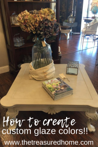 Learn how to create custom glaze colors using Fusion Mineral Paint. #thetreasuredhome #fusionmineralpaint #furnitureglaze #customfurniture #howtoglazefurniture
