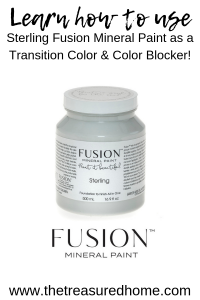 How to use Sterling Fusion Mineral Paint as a transition color and color blocker! #thetreasuredhome #fusionmineralpaint #furniturepaintingtechniques #howtopaintwhitefurniture #colorblocker